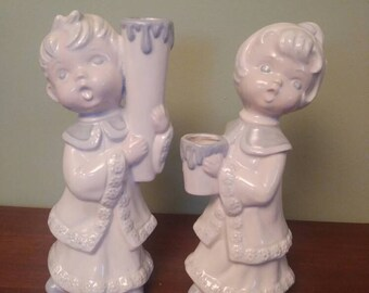 Vintage boy and girl candleholders- carolers