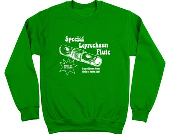 Special Leprechaun Flute Where Da Gold At St Patricks Day Paddys Funny Crewneck Sweatshirt DT2234