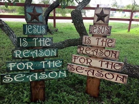 Jesus Is The Reason For The Season wooden rustic Christmas Tree