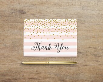 Printable Thank You Card, Blush Pink Gold Thank You Notes, Wedding, Baby Bridal Shower, Birthday, Party Printable, PG GP Instant Download