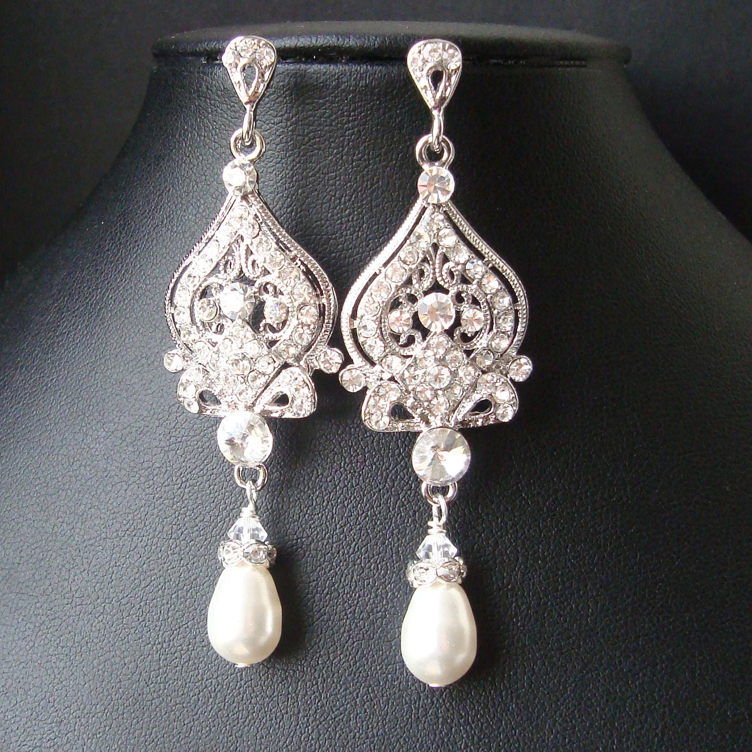 Vintage bridal earrings chandelier wedding earrings art deco zoom arubaitofo Gallery