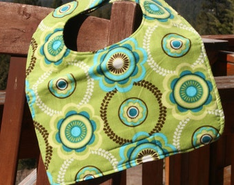 TODDLER or NEWBORN Bib: Green Corduroy Flowers, Personalization Available