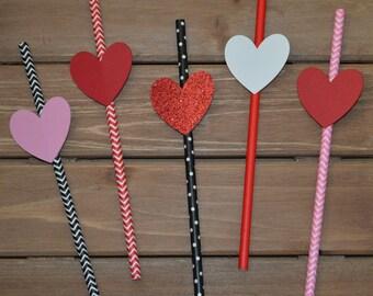 Valentine Heart Paper Straws! Valentine Party Decoration! Happy Valentine's Day Party Paper Straws! Valentine Heart Party Favors!