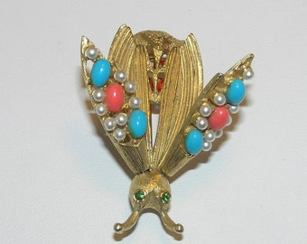 SALE 20% Off!  Vintage FLORENZA Faux Gemstone Insect Trembler Pin