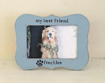 Personalized pet picture frame, dog memory, pet loss, pet memorial frame, dog frame, fur baby, gift for pet lover - Flowers in December