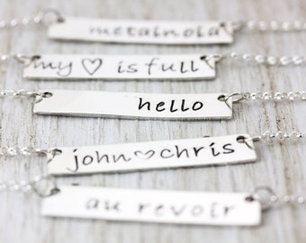 Dainty Bar Necklace, Silver or Gold Bar Name Necklace, Custom Name Necklace, Personalized Necklace, GPS, Christina Guenther