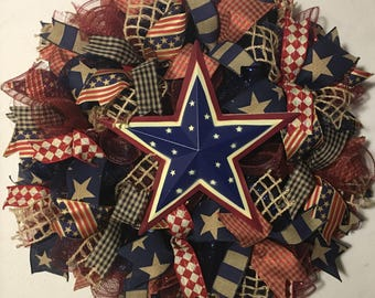 SALE 4th of July wreath, patriotic wreath, patriotic mesh wreath, patriotic wreaths,  4th of July wreaths, wreath, Fourth of July wreaths