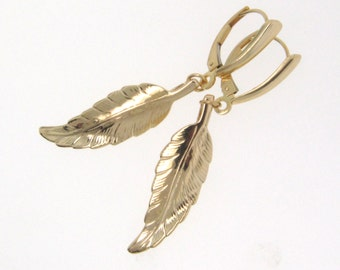 Gold Leaf Earrings, 14K Solid Gold Celebrity Jewelry