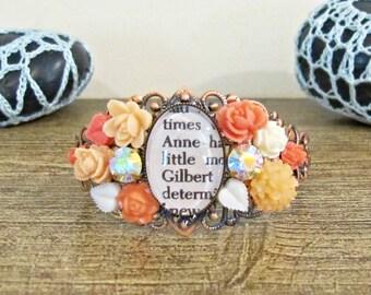 Anne of Green Gables Gift For Women - Cuff Bangle Bracelet Shirley Gilbert Blythe - Orange White Vintage Flower Leaf - Copper Botanical