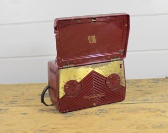 1950 Motorola Burgundy Electric Radio, Model 5M2U, Vintage Motorola, Vintage Retro Radio, Burgundy Vintage Decor, 1950s Decor, Old Radio