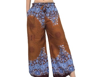 Boho Palazzo pants/Rayon comfy Palazzo pants/Yoga pants/Hippie pants/Meditation Pants/Boho pants/Gypsy pants/Wide leg pants/Flower pants