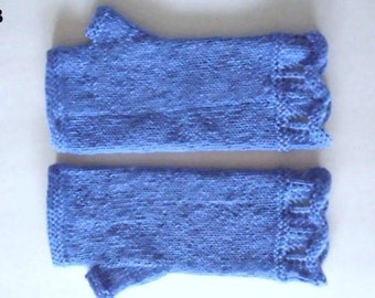 Fingerless  wool gloves with lace cuffs. Royal blue color. Hand knit.  Ready to ship