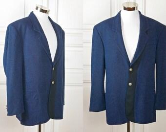 Italian Vintage Blazer, Dark Blue Black Textured Sports Coat, Navy Blue Jacket: Size 42 (US & UK)