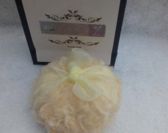 Yellow Soft and Fluffy Powder Puff/Pouf. Ribbon finger grip. Gift Bag. Vegan Gift. Gift for Her. Bridesmaid Gift.