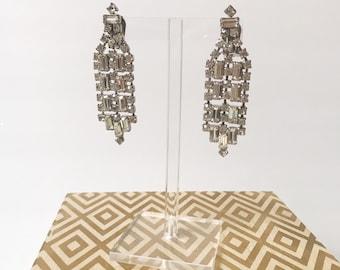 Stunning Vintage Baguette Rhinestone Fringe Dangle Earrings