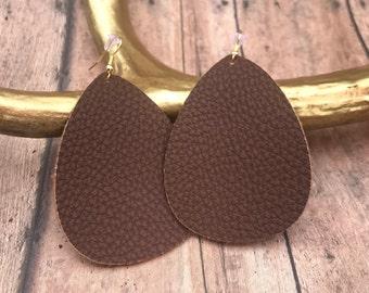 Brown faux leather earrings