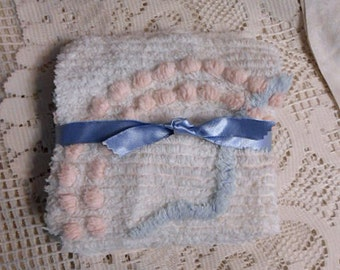 """13 SNOWY WHITE CHENILLE 6"""" Squares Tufted Textured Cotton Blue & Pink Popcorn, Patchwork Quilt Pillow Purse Sewing, Upcycled 1930 Bedspread"""