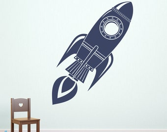 Rocket Wall Decal - Rocket Ship Decor - Boy Bedroom Decal - Space Wall Sticker