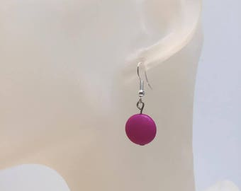 Pink flat bead earrings