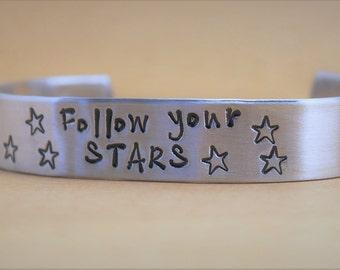 Inspirational Bracelet, Graduation Gift, Cuffed Aluminum Bracelet, Silver Cuff, Follow Your Stars, Star Bracelet