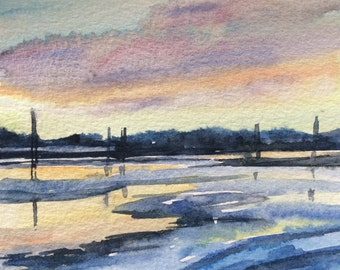 Landscape watercolor, Sunset, Winter reflection