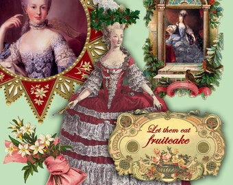 Instant Download - Christmas Marie Antoinette Digital Collage Sheet - Download and Print