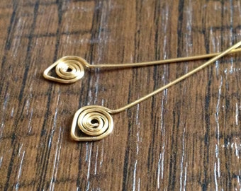 SIX -14kt Yellow Gold FIlled Swirly Head Pins - Handmade in 24ga 2 inches Spiral Gold Filled Head Pins Handmade Head Pins