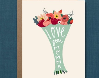 Whimsical Mother's Day Greeting Card // 1 4.25x5.5 PRINTED Card + Envelope // Greeting Card, Hand Lettered Card, Whimsical Card