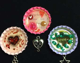 6 Build a Bottle Cap Necklaces to CHOOSE from, Kit, Kids, Girls, Hearts, Keys, Cross, Leather, Chains, Valentine, Gift, Christmas
