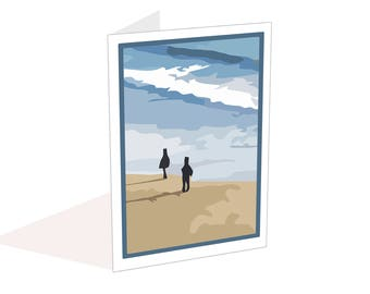 Beach card blank inside for your own message, Artist card ideal for Birthdays, Anniversary Card, Notecard with envelope, Thank you card,