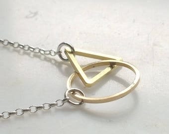 Hoop and Triangle Necklace - Geometry Necklace - Geometric Necklace - Geometry Jewellery - Circle Triangle Necklace