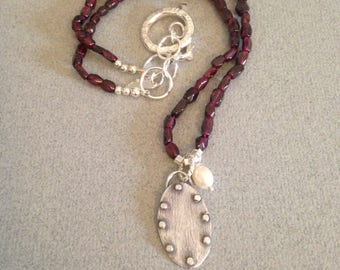 Garnet Necklace - Artisan Necklace - Silver Pendant Necklace