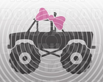 Monster Truck for Girls SVG File Cutting Template -Vector Art Commercial & Personal Use-Cricut,Cameo,Explore,SCAL,Silhouette,Vinyl Decal