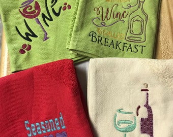 KITCHEN TOWELS singles, embroidered - 100% COTTON,  Kitchen and Wine & Spirits sayings towels