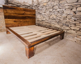 The Lamplighter - Modern Platform Bed from Reclaimed Wood