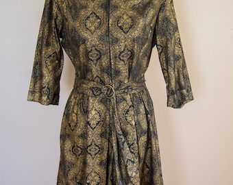60's Park East by Swirl Black and Gold Printed Cotton Romper Size Large