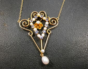 14K Gold Victorian Lavalier with Genuine Seed Pearls Synthetic Blue Zircons and a Diamond, Edwardian Jewelry,  Gold Filigree Lavalier,1900's