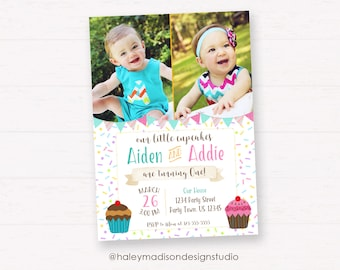 Twins Cupcake Birthday Invitation, Cupcake Birthday Party Invitation, Twins Birthday Invitation - DIGITAL FILE