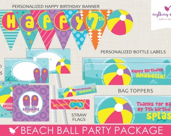 Beach Ball Party Package // Pool Party // Printable PDF // Party Decorations // Pink// Purple // Fun in the Sun // Summer // Personalized