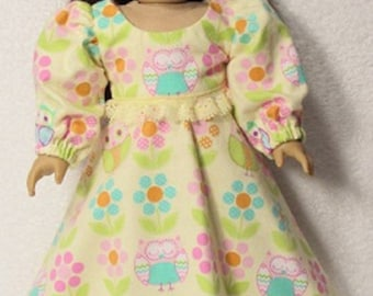 18 Inch Doll  Yellow Flannel Print Flair Nightgown