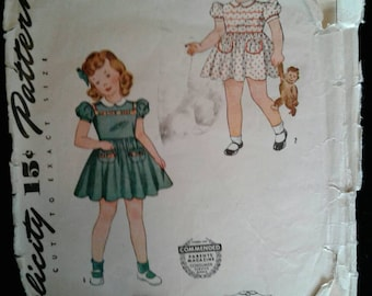 50s Simplicity Girl's vintage dress and panties pattern 4175