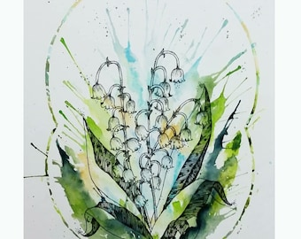 Modest Lilies of the Valley (Original Watercolor)
