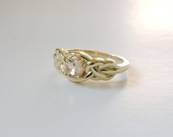 Morganite Celtic Engagement Ring - 14k Yellow Gold Celtic Wedding Ring