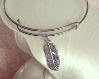 Feather Pewter Stacking Charm Bracelet