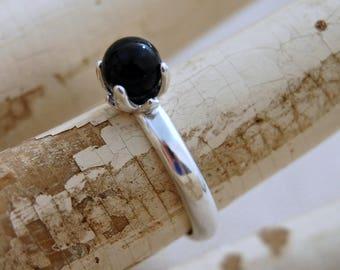 Asima- Striking Black Onyx gemstone ring, stacking ring, onyx, silver ring, gemstone ring, fashion, gemstone, Argentium silver, ring, gift