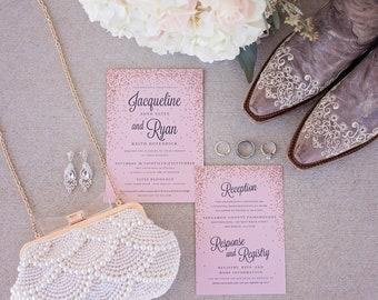 Rose Gold Glitter Wedding Invitation Suite SAMPLE ONLY