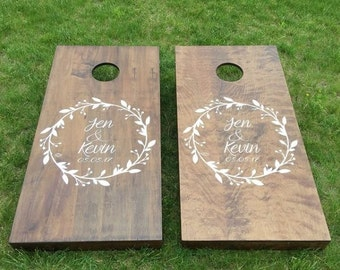 Custom Wedding Cornhole Boards - Custom Wreath Logo