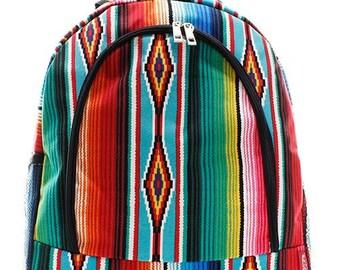 Monogrammed Serape Backpack Personalized Bookbag