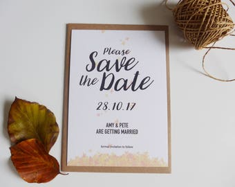 Save the Date Card, Rustic Save-the-Date, Autumnal, Falling Leaves