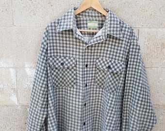 Vintage 1970s Sears Houndstooth Button Down Shirt. by Goodies and Co.